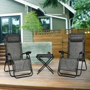 Gymax 3PCS Zero Gravity Recliner Lounge Chairs Pillows Table Portable Folding Grey
