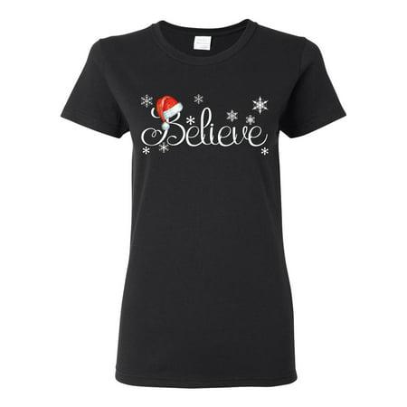 Santa Hat Snowflake Believe Christmas Womens Graphic T-Shirt, Black, Small