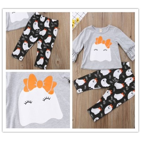 Payday 2 Halloween Patterns (Cute Halloween Baby Girl Long Sleeve Round Neck Cute Ghost Pattern Top Pants 2 Piece)