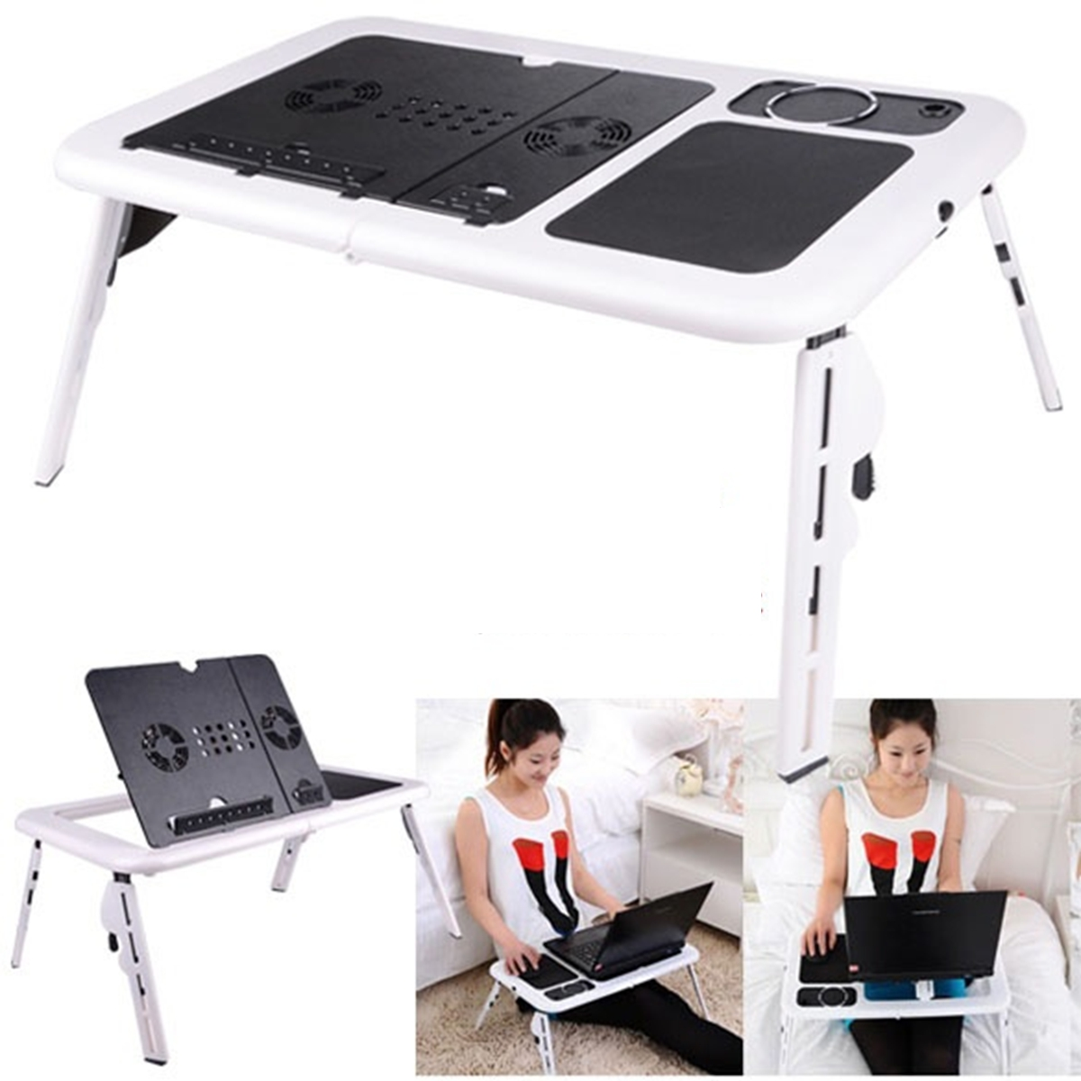Laptop Desk Foldable Adjustable Table Bed Sofa Stand Tray with USB Cooling Fan