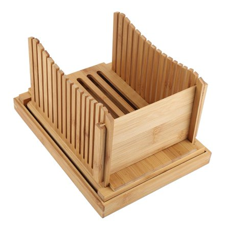 Qiilu Foldable Bamboo Bread Slicer Guide with Crumb Catching Tray, Bamboo Bread Slicer Guide,Bread Slicer Guide - image 8 of 13