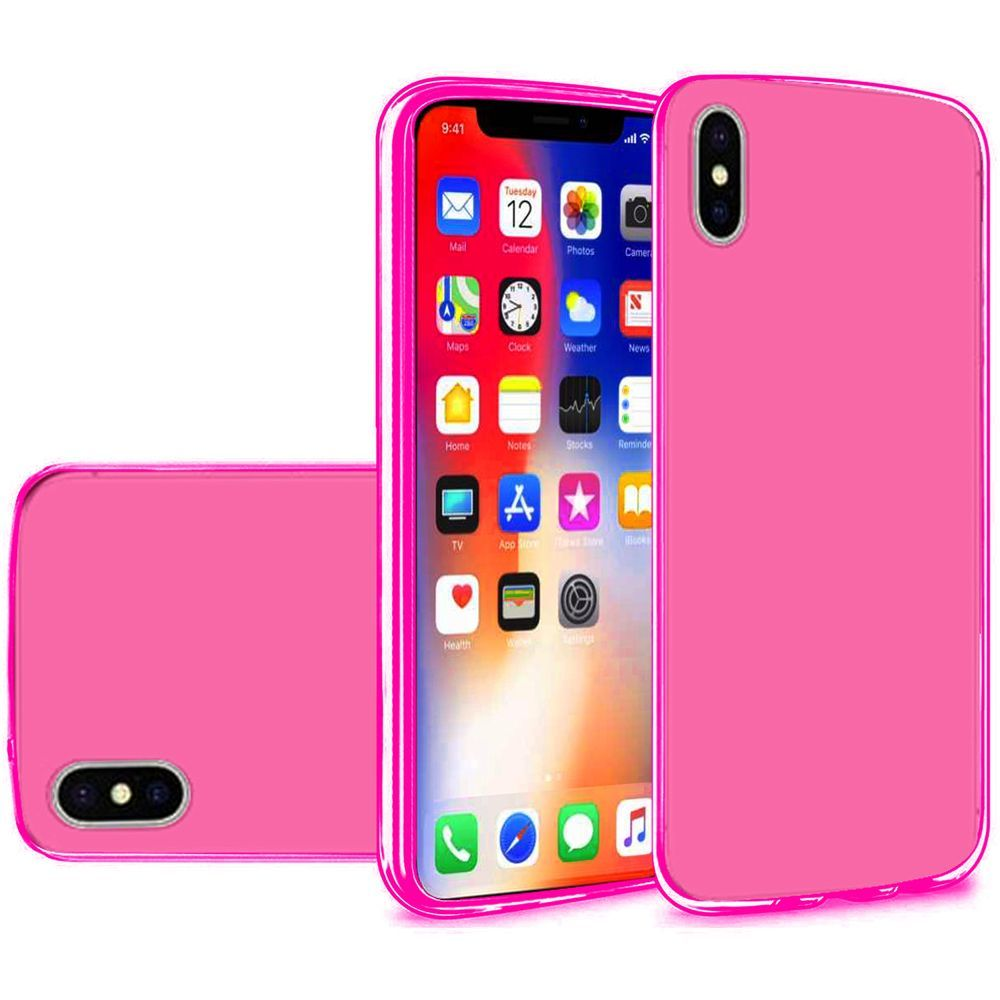 on sale aa3d2 f4bc8 iPhone X Case, iPhone 10 Case, by Insten Rubber TPU Case Cover For Apple  iPhone X 2017, Hot Pink