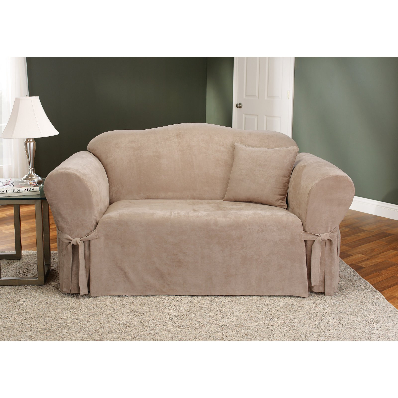 Better Homes and Gardens Soft Suede Sofa Slipcover, Taupe