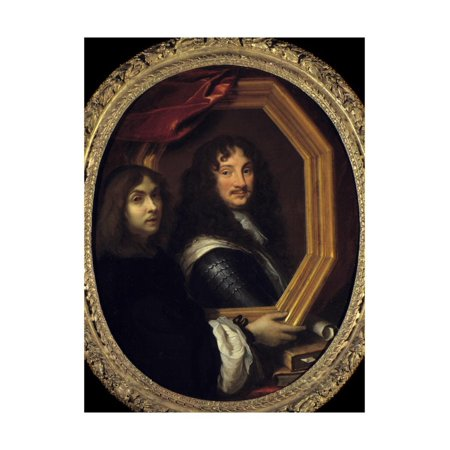 Portrait of the Artist Holding the Portrait of a Military by Charles Le Brun Print Wall Art (Military Portrait)