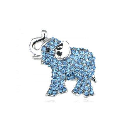 Austrian Ice Blue Crystal Rhinestone Silvery Tone Baby Trunk Elephant Pin Brooch
