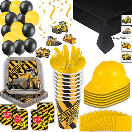 Construction Party Supplies - 16 Guest - Plates, Cups, Napkins, Tablecloth, Cutlery, Loot Bags, Balloons, Hanging Decorations, Hard Hats, Tattoos - Black and Yellow Builder Zone Theme Birthday