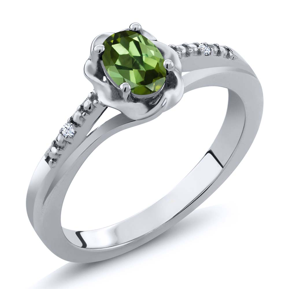 0.52 Ct Oval Green Tourmaline White Created Sapphire 18K White Gold Ring by