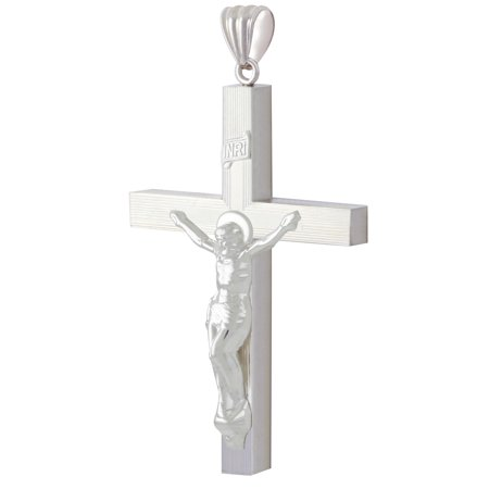New Large 2 3/8in 0.925 Sterling Silver Crucifix Cross Religious Pendant