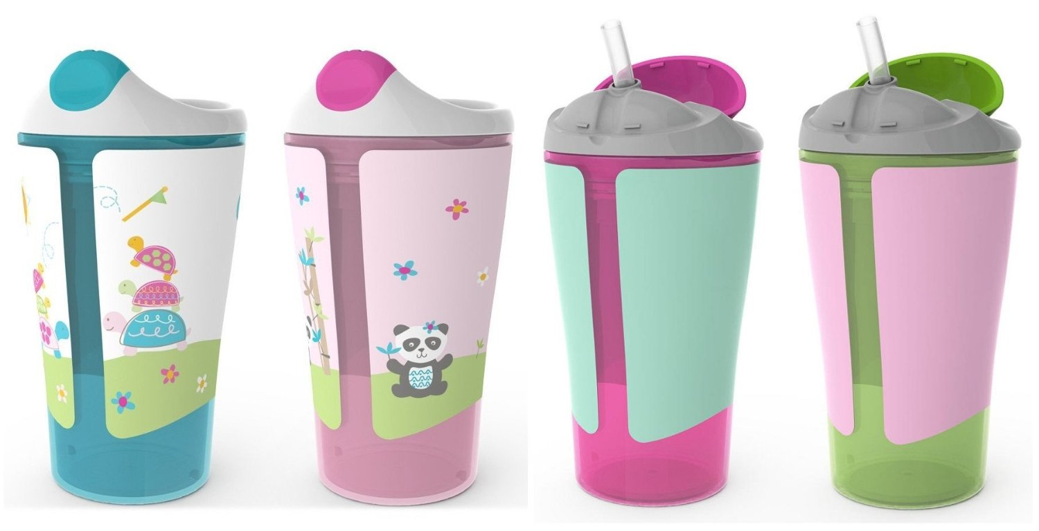 Born Free Grow with Me 10 oz Sippy Cup & Straw Cup Set, Pink by BF