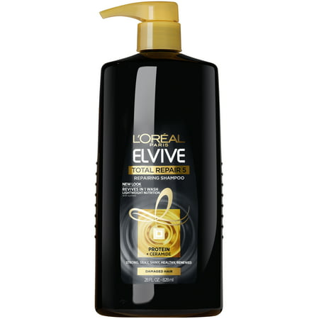 L'Oreal Paris Elvive Total Repair 5 Repairing Shampoo for Damaged Hair, 28 fl. (Best Shampoo For Damaged Hair And Split Ends In India)