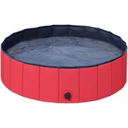 DecorX Hard Plastic Foldable Bath Pool Collapsible Large Pool Bathing Swimming Tub Kiddie Pool for Kids, 39.4inch.D x 12inch. H, Red