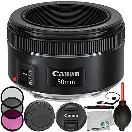 Canon EF 50mm f/1.8 STM Lens 8PC Accessory Bundle – Includes Manufacturer Accessories + 3PC Filter Kit (UV + CPL + FLD) + Lens Cap Keeper + MORE – International Version (No