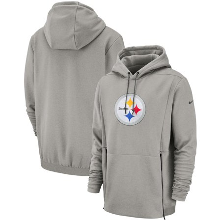 new products 9c531 01a59 Pittsburgh Steelers Nike Sideline Performance Player Pullover Hoodie -  Heathered Gray