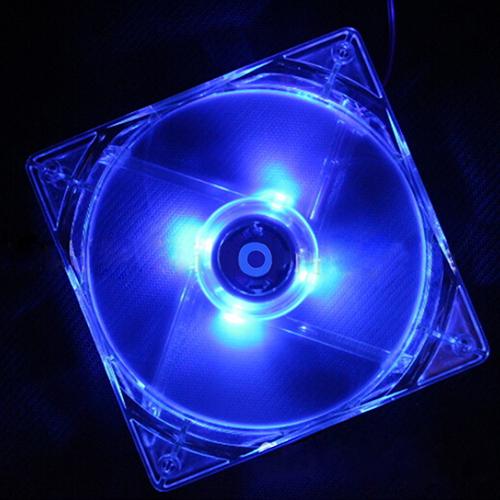 Micelec 12V 12cm CPU Cooling Fan Computer PC Clear Case Quad 4 Blue LED Light Fan