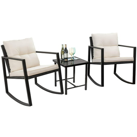 Walnew 3 Pieces Patio Furniture Set Rocking Wicker Bistro Sets Modern Outdoor Rocking Chair Furniture Sets Cushioned PE Rattan Chairs Conversation Sets with Glass Coffee Table (Black) ()