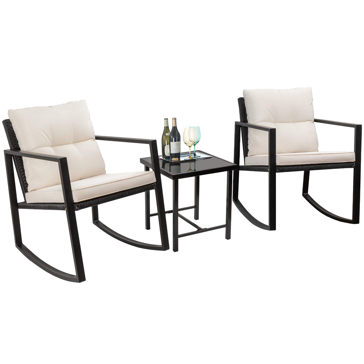 Etonnant Walnew 3 Pieces Patio Furniture Set Rocking Wicker Bistro Sets Modern  Outdoor Rocking Chair Furniture Sets Cushioned PE Rattan Chairs  Conversation ...