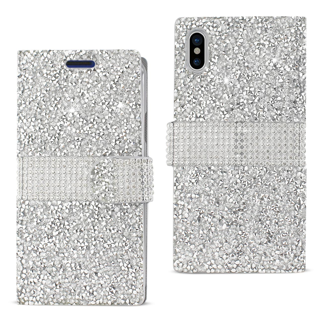 REIKO IPHONE X DIAMOND RHINESTONE WALLET CASE IN SILVER