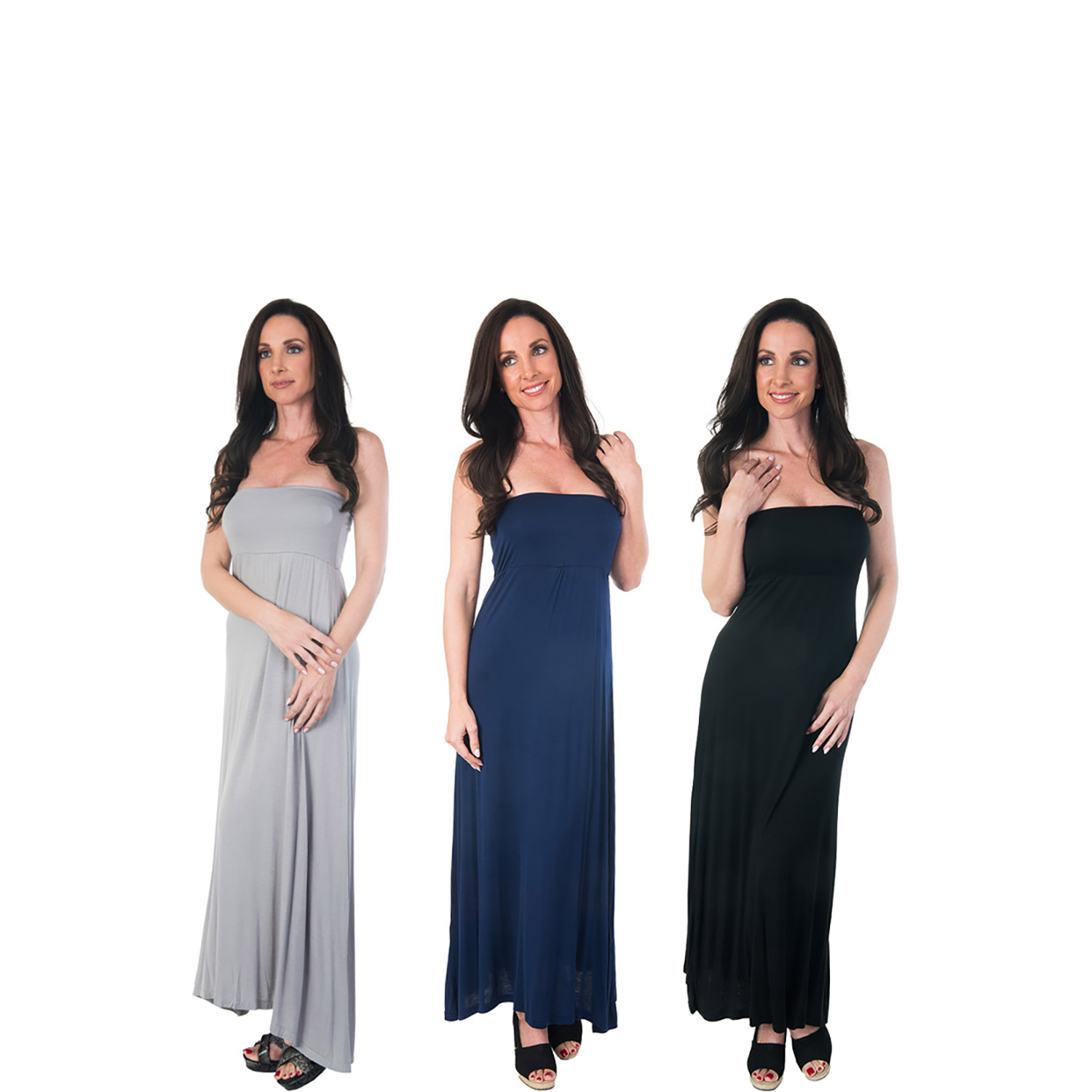 Agiato Women's 2-in-1 Maxi Dress 3-Pack