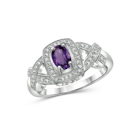 JewelersClub 0.42 Carat T.G.W. Amethyst Gemstone and 1/20 Carat T.W. White Diamond Ring 1.25 Carats Amethyst Ring