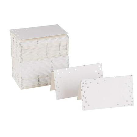 Best Paper Greetings Place Cards - 100-Pack Small Tent Cards with Silver Foil Polka Dots, Foldover Table Placecards, Perfect for Weddings, Banquets, Events, Folded 2 x 3.5 (Best Place To Mine Tin)