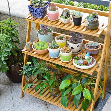 Flower Pot Plant Stand 3 Tier Flower Planter Rack Shelf Shelves Organizer With Gloves and Tools