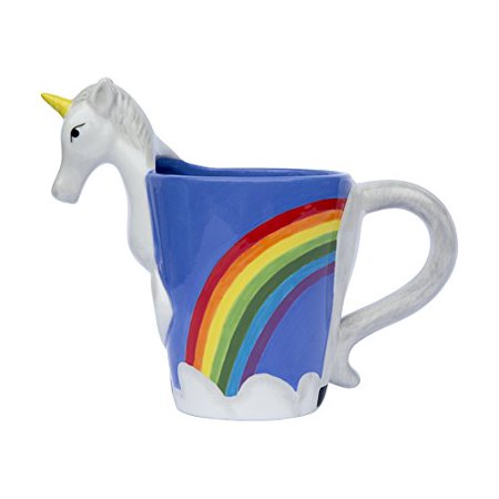 - Ceramic Unicorn Coffee Mug w/ Rainbow by Comfify - Sweet & Fantastical 3D Unicorn Design w/ Magical Rainbow - Unique & Creative Mug, Perfect Coffee Geek Gift for Gamers and Unicorn Lovers - 16 oz.