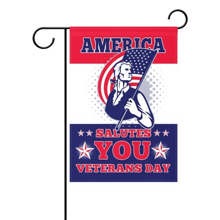 Veterans Day Flag (POPCreation Veteran Day Garden Flag 28x40 inches Military Patriotic Decorative House Flag for Party Home Outdoor)