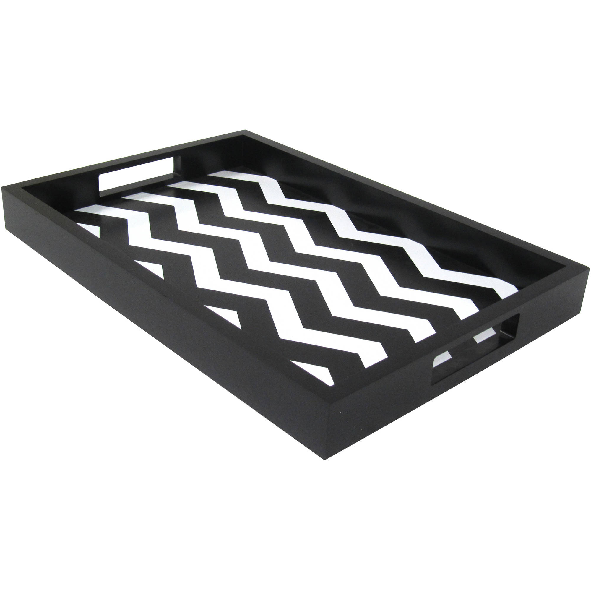 "Decorative 10"" x 15"" Black and White Chevron Serving Tray"