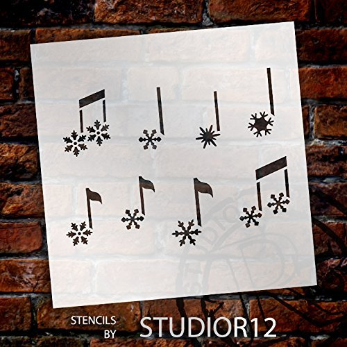 Snowflake Music Notes Stencil By StudioR12 | Musical Winter Art   Large 15  X 15
