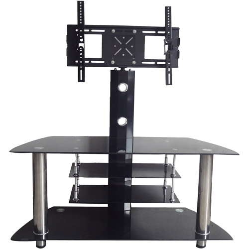 """Hodedah Black 4-Shelf Glass TV Stand with Swiveling Mount for TVs up to 42"""""""
