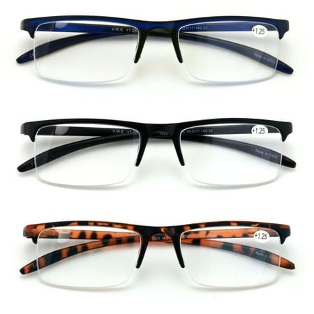 3 Pairs Half Rim Rectangular Readers With Spring Hinge - Extended Temple Reading Glasses ()