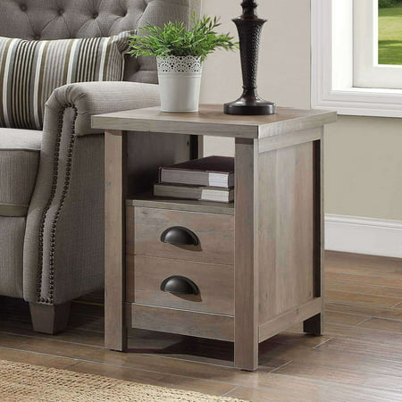 Better Homes and Gardens Granary Modern Farmhouse End Table, Multiple Finishes (Elm Root Table)
