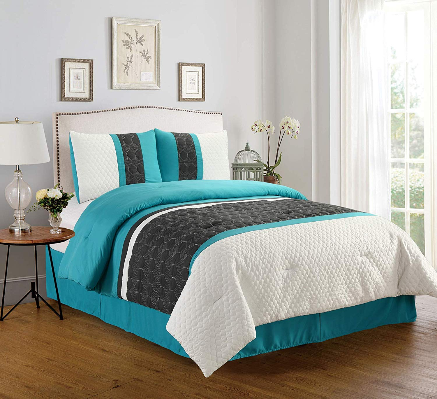 Empire Home Teal Grey Enas 4pc Comforter Set New Arrival Sale Walmart Com Walmart Com