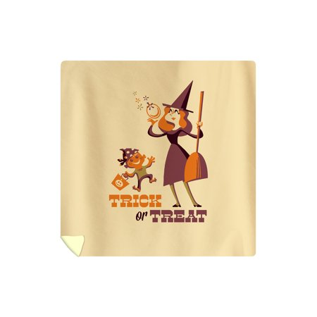 Trick or Treat - Mom & Son - Retro Halloween - Lantern Press Artwork (88x88 Queen Microfiber Duvet Cover)