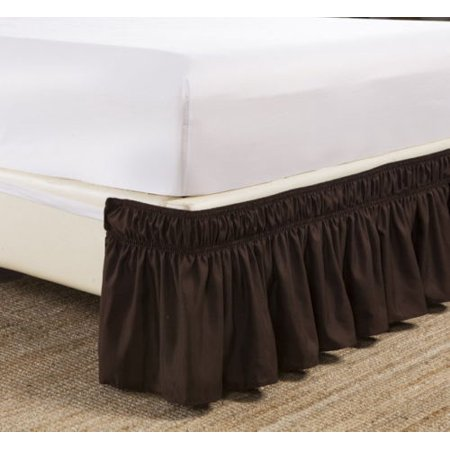 "Cal-King Brown Elastic Wrap Around Dust Ruffled Bed Skirt Bedding Bed Dressing Easy Fit 14"" Drop"