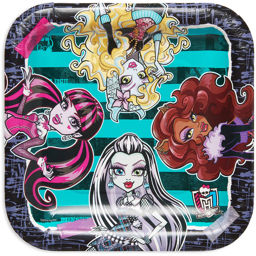 "9"" Monster High Square Paper Party Plate, 8ct"