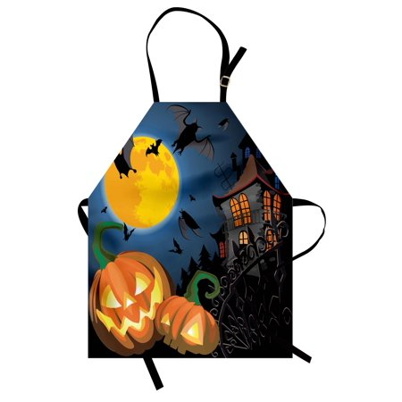 Halloween Apron Gothic Halloween Haunted House Party Theme Design Trick or Treat for Kids Print, Unisex Kitchen Bib Apron with Adjustable Neck for Cooking Baking Gardening, Multicolor, by Ambesonne