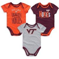 Virginia Tech Hokies Infant Little Tailgater Three-Pack Bodysuit Set - Maroon/Orange/Heathered Gray