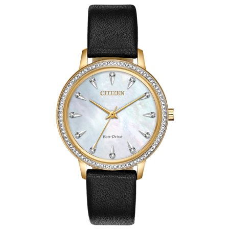 NWT Citizen Ladies Eco-Drive Silhouette Crystal FE7042-07D Leather Strap Bracelet with White Dial Watch