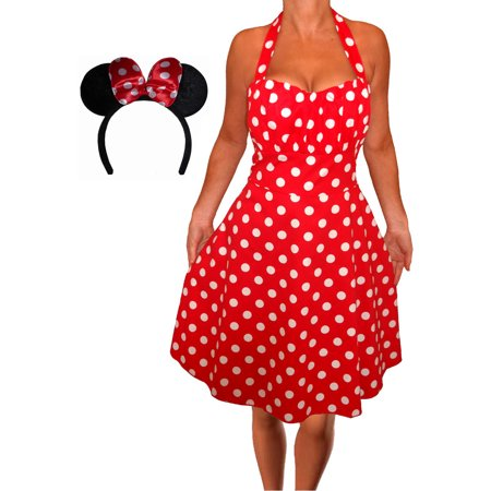 Funfash Plus Size Theme Party Holiday Costume Red White Dress Minnie Mouse  Ears