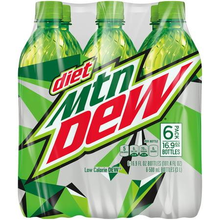 (4 Pack) Diet Mountain Dew, 16.9 Fl Oz, 6 (Mountain Pot)