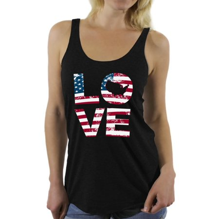 American Flag Tank Top - Awkward Styles Women's Love American Flag Graphic Racerback Tank Tops USA Flag Stars and Stripes Patriotic Gift