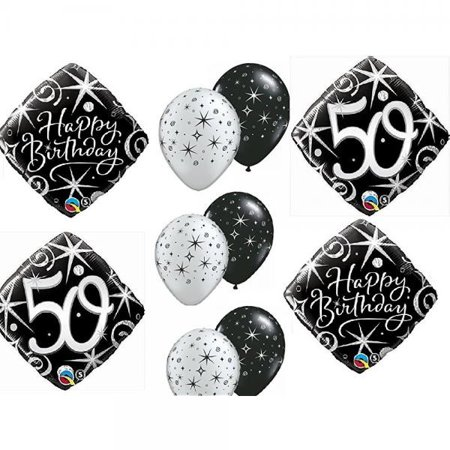 10pc BALLOON set 50th BIRTHDAY over the hill BIRTHDAY party BLACK silver classy decorations - Classy Birthday Decorations
