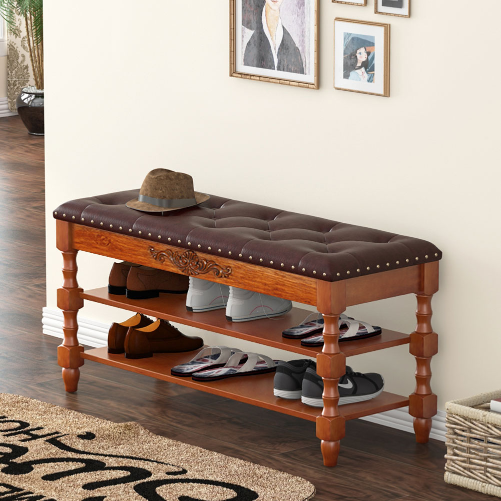 Tribesigns Shoe Bench, Solid Wood Shoe Bench Entryway with Lift Top, 2-Tier Vintage Style Shoe Rack with Tufted Leather Accents