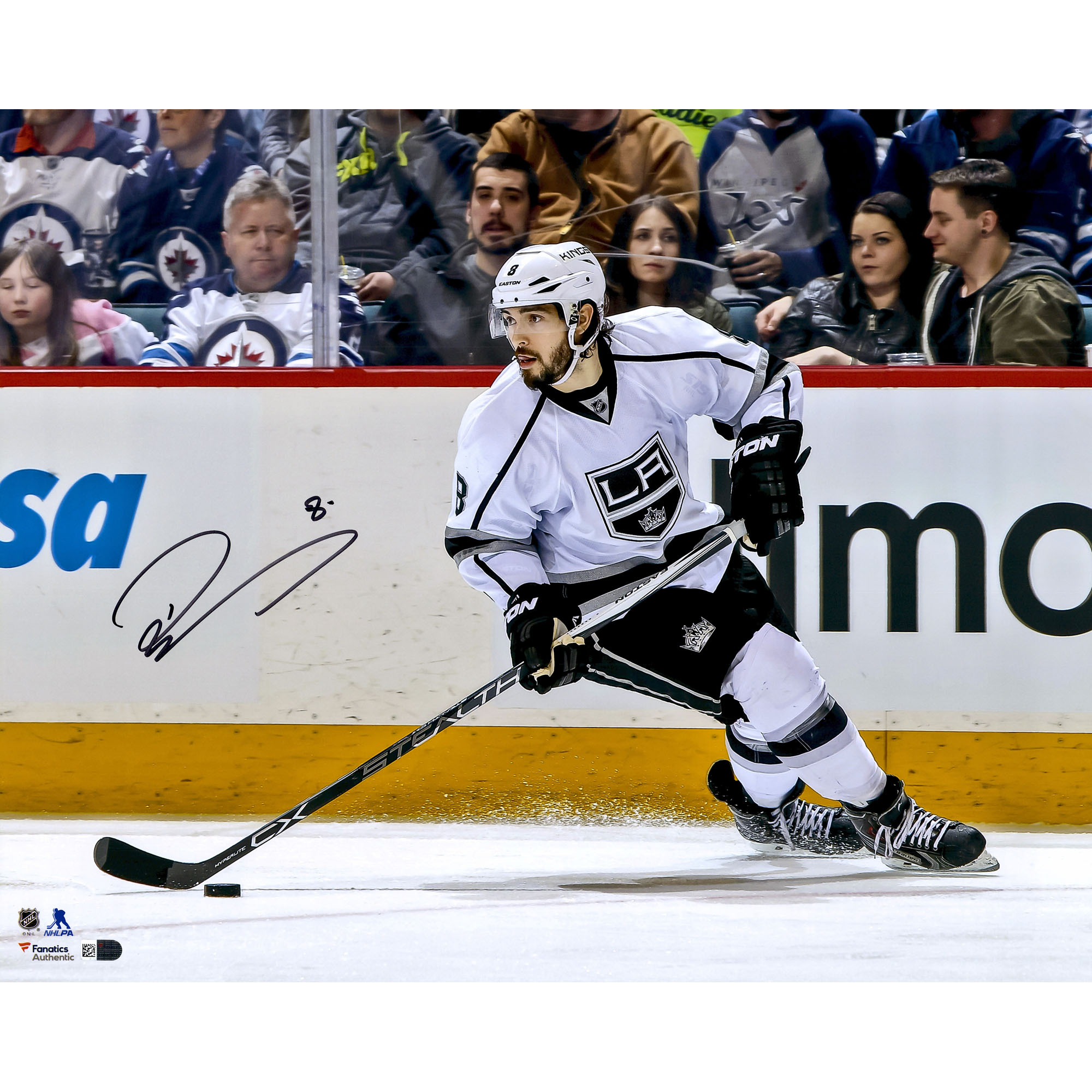 "Drew Doughty Los Angeles Kings Fanatics Authentic Autographed 16"" x 20"" White Jersey Skating With Puck... by Fanatics Authentic"