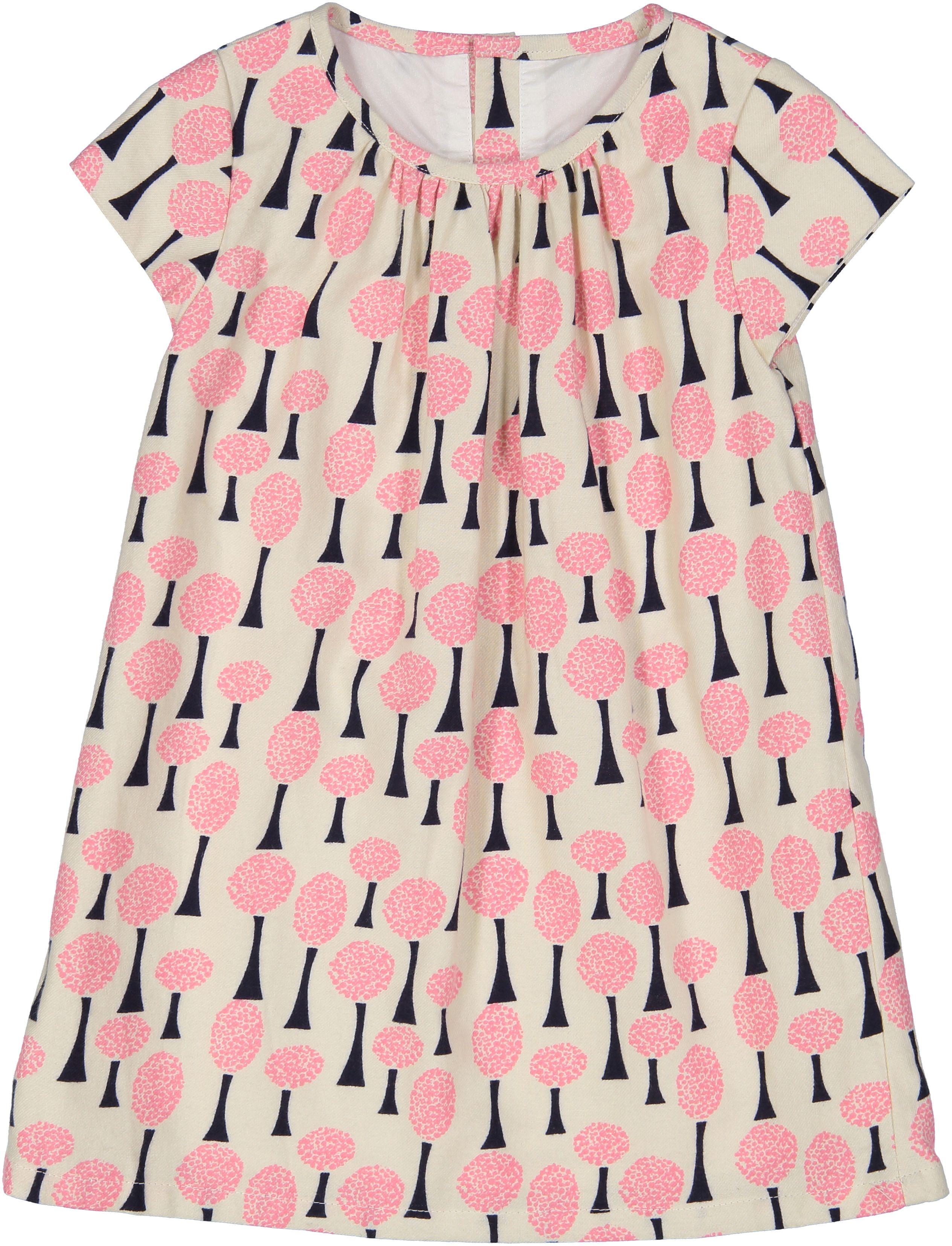 Toddler Girl Cream & Pink Tree Print A-Line Dress