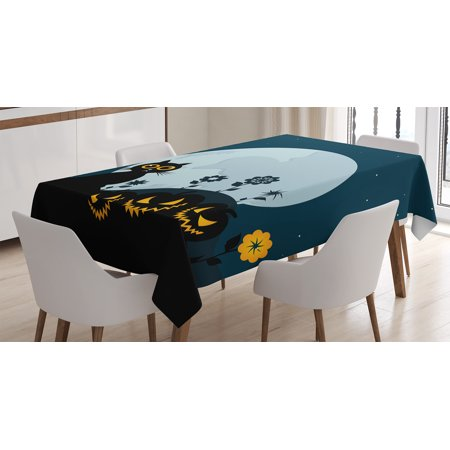 Halloween Decorations Tablecloth, Cute Cat Moon on Floral Field with Starry Night Sky Star Cartoon Art, Rectangular Table Cover for Dining Room Kitchen, 60 X 84 Inches, Blue Black, by - Seeing Black Cat On Halloween