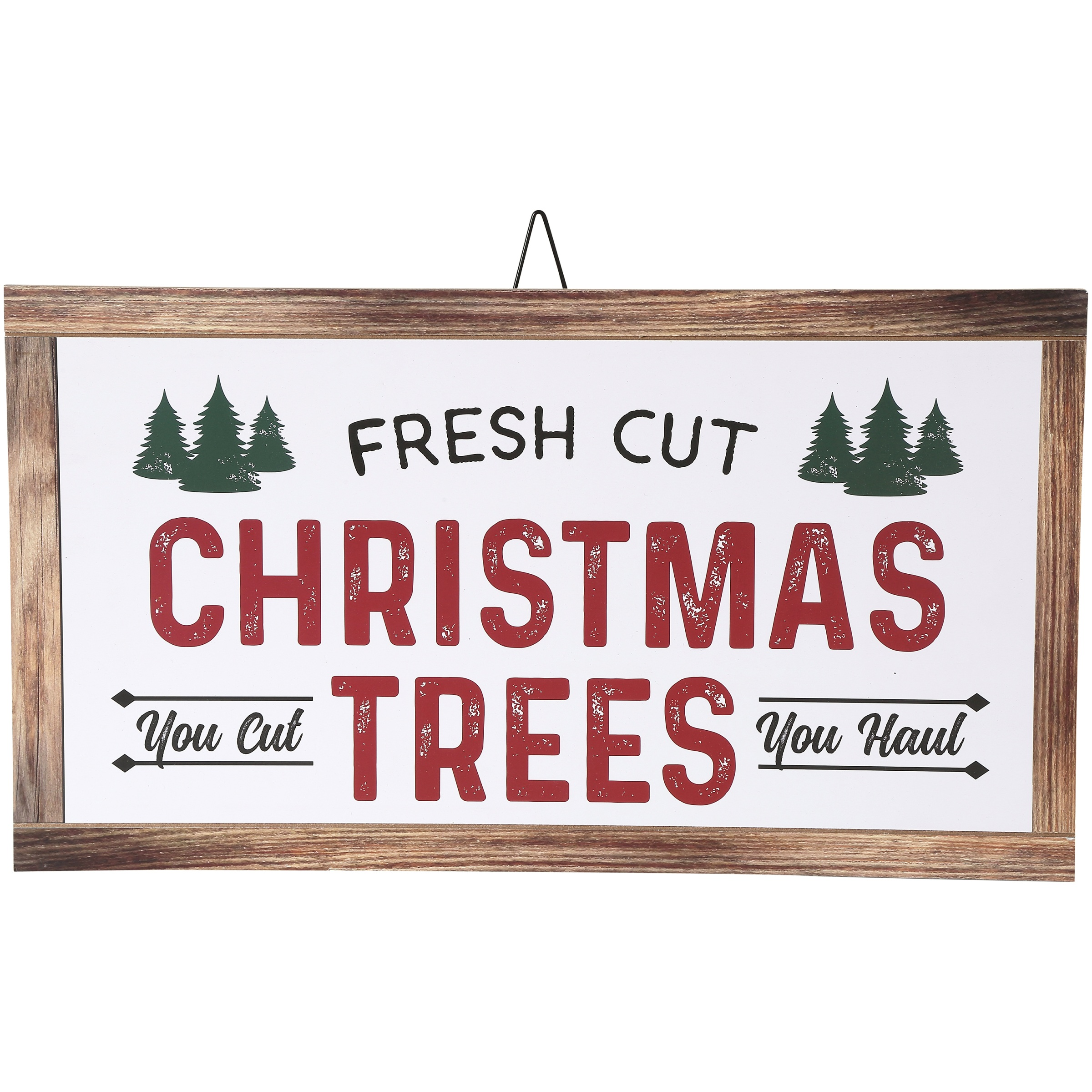 Belham Living Hanging Decor, White with Fresh Cut Christmas Trees Text