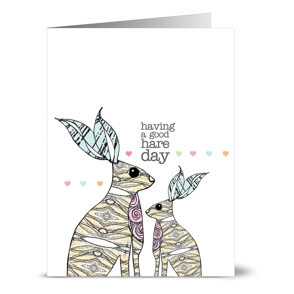 24 Note Cards - Well Said Hares - Blank Cards - Gray Envelopes Included