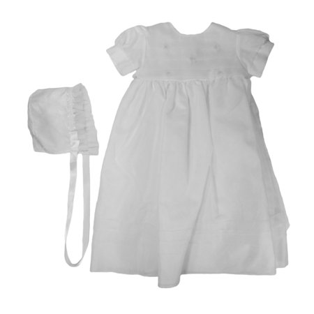 Christening Day Baby Girls White Fully Lined Sheer Organza Gown, 3m - 24m](Best Christening Gowns)